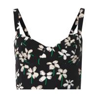Eva Top Cropped Com Estampa Floral - Preto