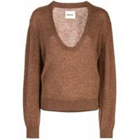 Khaite Suéter Com Gola V - Marrom