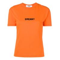 Msgm Camiseta Com Logo - Laranja