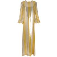 By. Bonnie Young Vestido Listrado Metalizado - Dourado