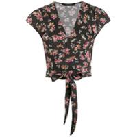 Andamane Blusa Com Transpasse E Estampa Floral - Preto