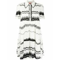 Missoni Short Sleeve Zig Zag Knit Polo Dress - Branco