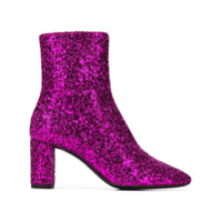 Saint Laurent Ankle Boot Com Brilho - Rosa