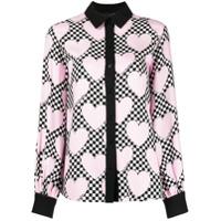 Love Moschino Blusa Quadriculada Com Corações - Rosa