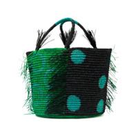 Sensi Studio Bolsa Estampada De Palha - Green