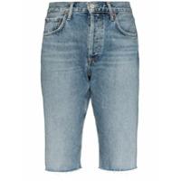 Agolde Short Jeans Com Efeito Desbotado - Azul