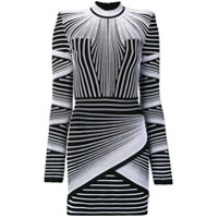 Balmain Vestido Slim Com Estampa Geométrica - Preto