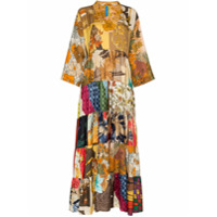 Rianna + Nina Ulti Floral Print V-Neck Silk Kaftan Dress - Marrom