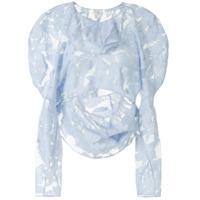 Yuhan Wang Blusa Drapeada Com Estampa De Folha - Azul