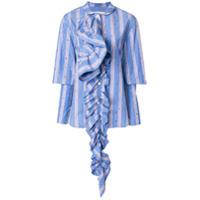 Marni Camisa Listrada Com Detalhe De Babado - Azul
