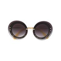 Miu Miu Eyewear Óculos De Sol Redondo - Preto