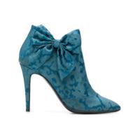 Les Chaussons De La Belle Bota De Couro E Seda - Azul