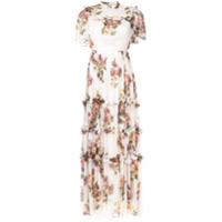 Needle & Thread Vestido Com Estampa Floral - Branco