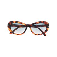 Tom Ford Eyewear Óculos De Sol Redondo Com Efeito Tartaruga - Marrom