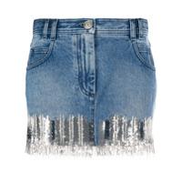 Balmain Saia Jeans Com Aplicação De Paetês - Azul
