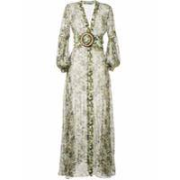 Silvia Tcherassi Vestido Longo Translúcido Com Estampa Camuflada - Verde