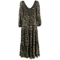 Rixo Vestido Lottie Klimt Com Amarração E Estampa De Ondas - Preto