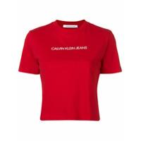 Calvin Klein Jeans Camiseta Cropped Com Logo - Vermelho