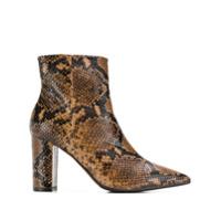 The Seller Ankle Boot Com Efeito De Pele De Cobra - Marrom