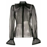Dolce & Gabbana Blusa Translúcida Com Gola Laço - Preto
