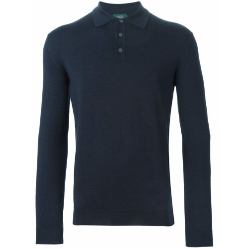Zanone long sleeve polo shirt - Azul