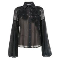 Gloria Coelho Camisa De Tule Com Aplicações - Cinza
