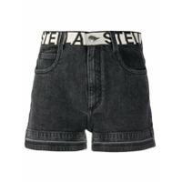 Stella Mccartney Short Jeans Com Logo Contrastante - Preto