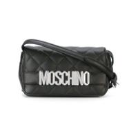 Moschino Bolsa Transversal De Couro Com Logo - Preto