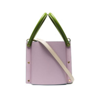Yuzefi Lilac And Powder Blue Cubo Two-Tone Contrast Handle Leather Bucket Bag - Azul
