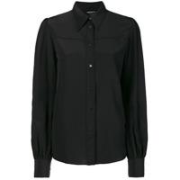 Rochas Camisa Mangas Longas De Seda Com Botões - Preto