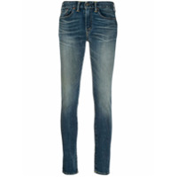 Ralph Lauren Rrl Calça Jeans Skinny Cintura Média Com Lavagem Estonada - Azul