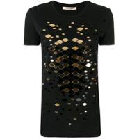 Roberto Cavalli Camiseta Com Aplicações - Preto