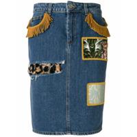 Jeremy Scott Saia Jeans Com Patchwork - Azul