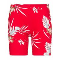 Paco Rabanne Bermuda Ciclista Com Logo E Estampa Floral - Vermelho
