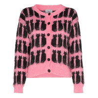 Ashley Williams Cardigan Mohair Com Padronagem - Rosa