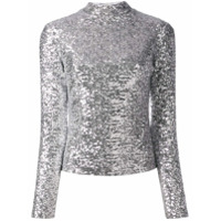 In The Mood For Love Roll Neck Sequin Top - Prateado