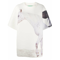 Benetton Camiseta Oversized Com Estampa De Casa - Branco