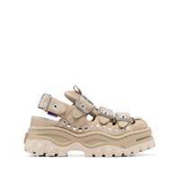 Eytys Beige Athena Stud-Embellished Suede Platform Sandals - Neutro