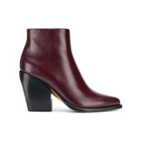 Chloé Ankle Boot Em Couro - Vermelho