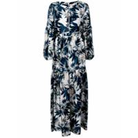 Black Coral Vestido Longo Com Estampa Floral - Azul