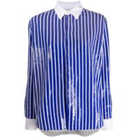 Polo Ralph Lauren Camisa Mangas Longas Com Listras E Paetês - Azul