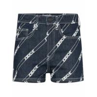 Jordache Short Jeans Cintura Alta Com Logo Estampado - Azul