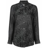 Equipment Camisa 'essential' De Seda Com Estampa De Leopardo - Preto