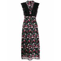 Giamba Vestido Longo Com Bordado Floral - Preto