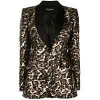 Dolce & Gabbana Leopard Sequin Blazer - Preto