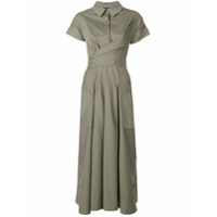 Talbot Runhof Pleated Shirt Dress - Cinza