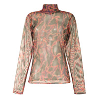 Onalaja Blusa Translúcida Com Estampa Abstrata - Colorido