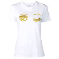 Chiara Ferragni Camiseta Bordada - Branco