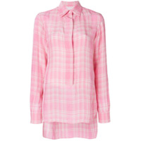 Victoria Beckham Camisa De Seda Xadrez - Rosa