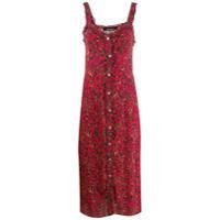 Andamane Vestido Midi Animal Print - Vermelho